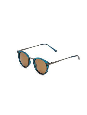 ENRICO | ENRICO Lenon UV Protected Round Unisex Sunglasses ( Lens - Brown | Frame - Blue)