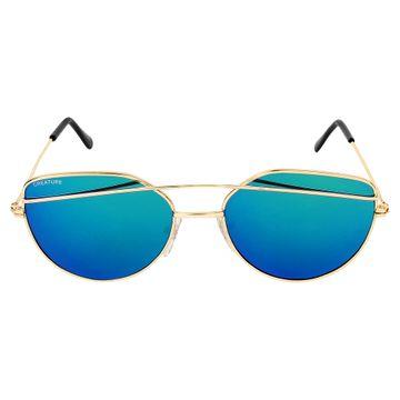 CREATURE | CREATURE Blue Aviator UV Protected Unisex Sunglasses (Lens-Blue|Frame-Golden)
