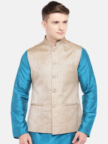 Ethnicity | Ethnicity Full Sleeve Polyester Blend Tussar Men Jackets