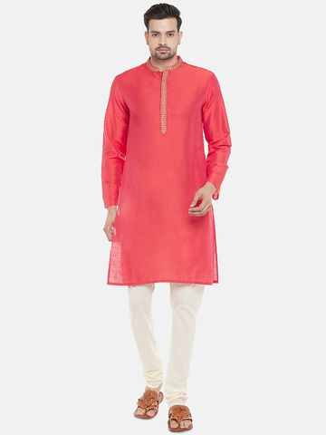Ethnicity | Art Silk Full Sleeve Straight Men Peach Kurta