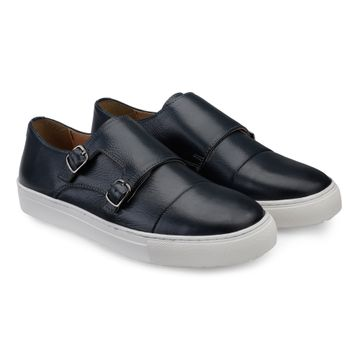 Hats Off Accessories | Hats Off Accessories Genuine Leather Blue Monk Strap Sneakers