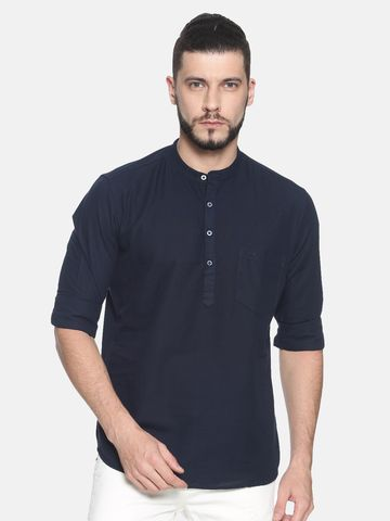 Chennis | Chennis Men's Solid Casual Kurta, Navy
