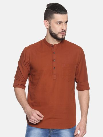 Chennis | Chennis Men's Solid Casual Kurta, Rust