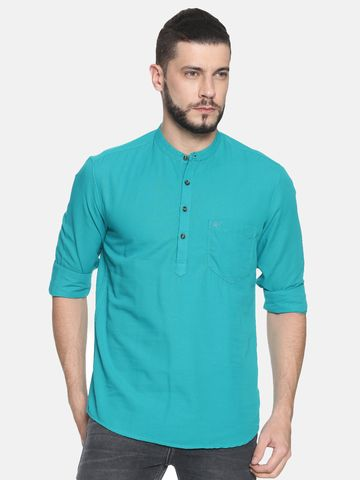 Chennis | Chennis Men's Solid Casual Kurta, Teal Blue