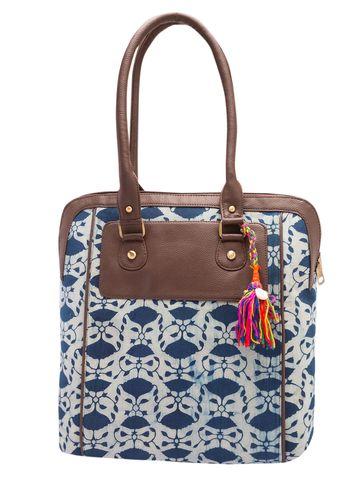 Vivinkaa | Vivinkaa Blue & Brown Cotton Printed Tote Bag