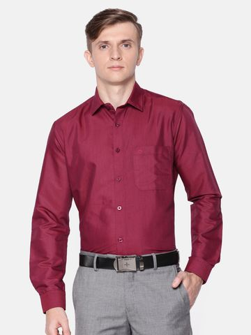 Jansons | Jansons Men's Solid Formal Maroon Shirt