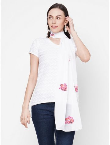 Get Wrapped | Get Wrapped White Polyester Embroidered Scarf with Solid Border
