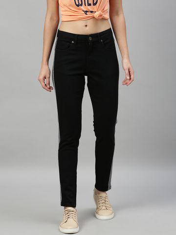 Enviously Young | Enviously Young Mid Rise Black Jeans with Sidetape