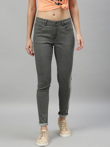 Enviously Young | Enviously Young Mid Rise Grey Jeans with Sidetape