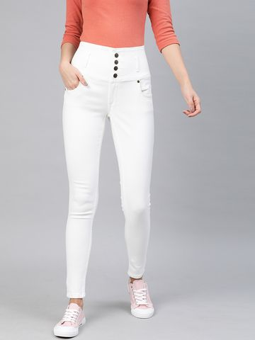 Enviously Young | Enviously Young High Rise 5 Button White Jeans