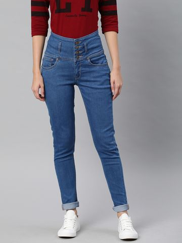 Enviously Young | Enviously Young High Rise 5 Button Blue Jeans