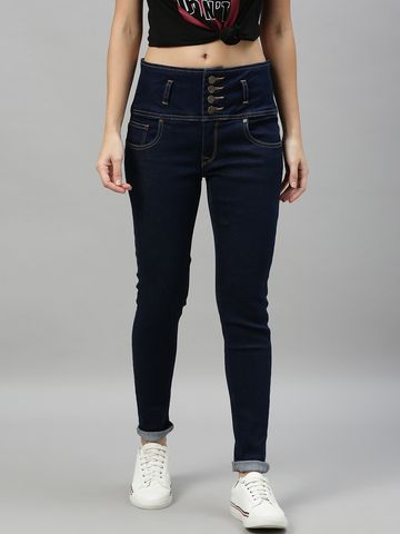 Enviously Young | Enviously Young High Rise 5 Button Navy Blue Jeans