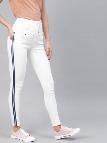 Enviously Young   Enviously Young High Rise 5 Button White Jeans with Sidetape