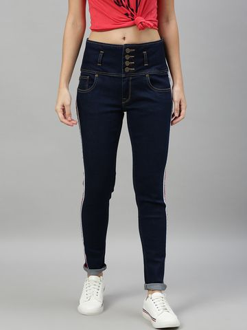 Enviously Young   Enviously Young High Rise 5 Button Navy Blue Jeans with Sidetape
