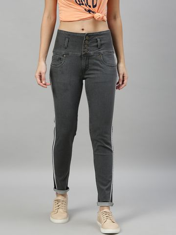 Enviously Young | Enviously Young High Rise 5 Button Grey Jeans with Sidetape