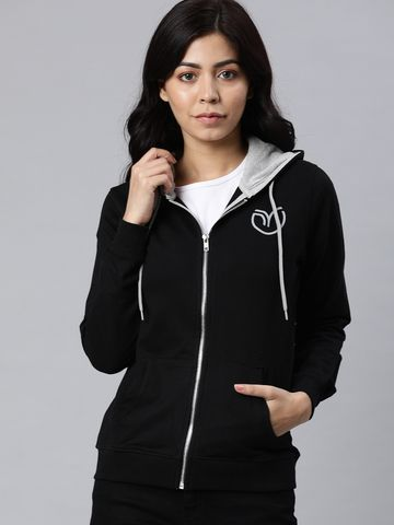 Enviously Young | Enviously Young Black Solid Front-open Sweatshirt