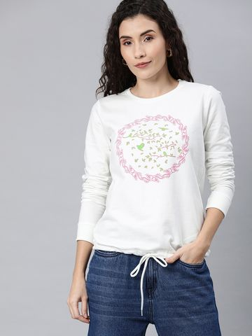 Enviously Young | Enviously Young Off-white Chest Print Round-neck Sweatshirt
