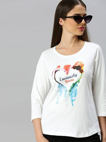 Enviously Young | Enviously Young Off white 3/4th Sleeves Round Neck Printed Tshirt