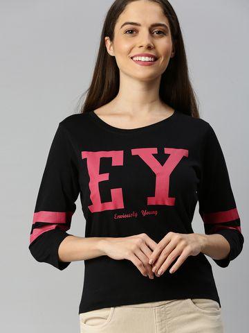 Enviously Young | Enviously Young Black Three-Quarter Sleeves Boat Neck Printed Tshirt