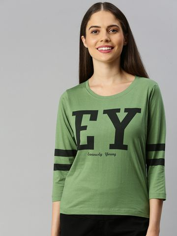 Enviously Young | Enviously Young Olive Three-Quarter Sleeves Boat Neck Printed Tshirt