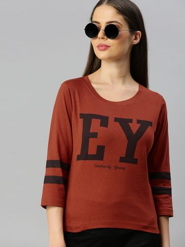 Enviously Young | Enviously Young Rust Three-Quarter Sleeves Boat Neck Printed Tshirt