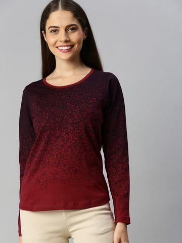 Enviously Young | Enviously Young Maroon Long Sleeves Round Neck Printed Tshirt