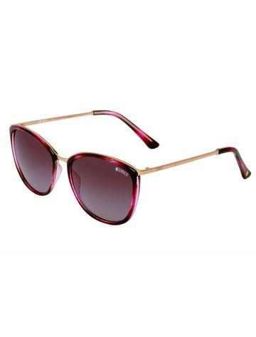 ENRICO | ENRICO Saffron Polycarbonate UV Protected Cateye Shape Sunglasses for Women ( Lens - Purple | Frame - Pink)