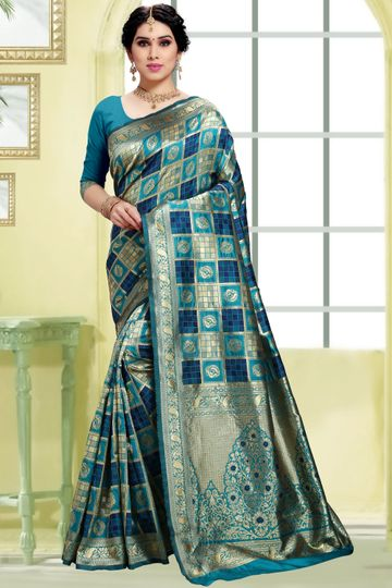 POONAM TEXTILE | Women's Checkered Woven Banarasi Art Silk Saree (Teal)