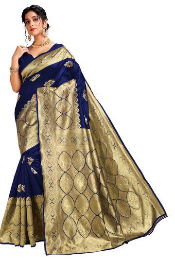 Glemora | Glemora Blue Lichi Cotton Ekaya Saree With Unstitched Blouse