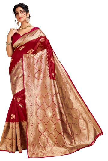 Glemora | Glemora Red Lichi Cotton Ekaya Saree With Unstitched Blouse