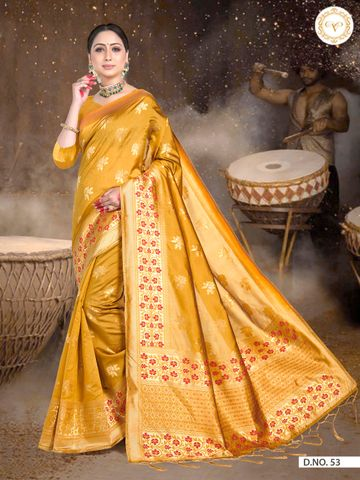 POONAM TEXTILE | TRADITIONAL BANARASI YELLOW ART SILK WOVEN ZARI FESTIVE SAREE
