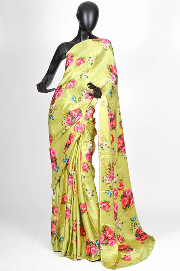 POONAM TEXTILE | WOMEN'S LIGHT GREEN FLORAL PRINT SATIN SAREES