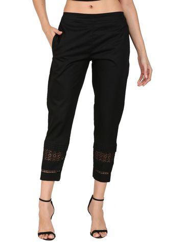 DEVS AND DIVAS | DEVS AND DIVAS Black Elegant Lace Pant Trouser For Women