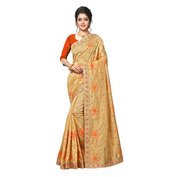 SATIMA | WOMEN'S SELF DESIGN BEIGE ORANGE MIX SILK BLEND SAREE