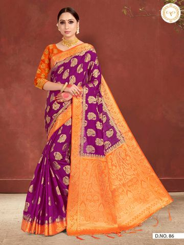 POONAM TEXTILE | LATEST BANARASI WINE RAW SILK WOVEN ZARI FESTIVE SAREE