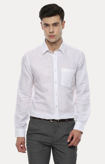 Turtle | White Solid Formal Shirt
