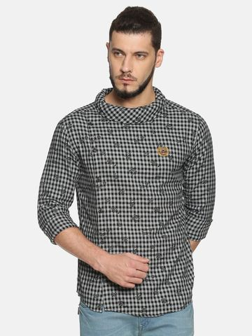 Showoff |  Men Grey Casual Cotton Checks  CasualShirts