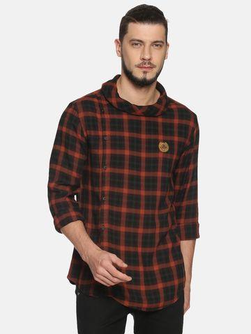 Showoff |  Men OrangeBlack Casual Cotton Checks  CasualShirts