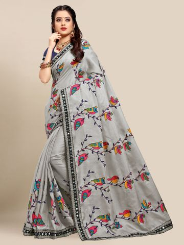SATIMA | Latest Grey Colour Embroidered Cotton Blend Saree