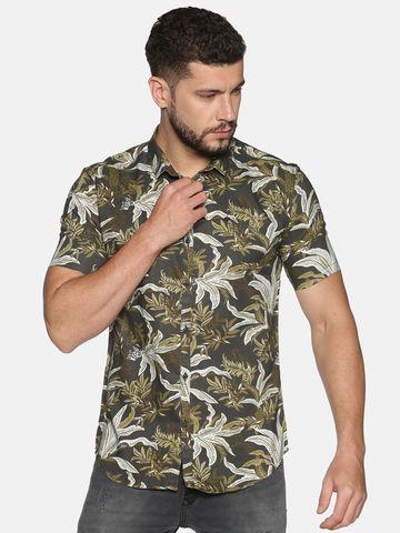 Showoff   SHOWOFF Men's Cotton Casual Olive Printed Slim Fit Shirt