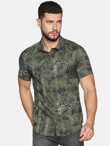 Showoff | SHOWOFF Men's Cotton Casual Green Printed Slim Fit Shirt