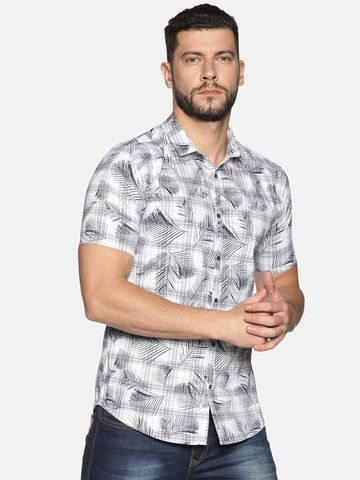 Showoff   SHOWOFF Men's Cotton Casual White Printed Slim Fit Shirt