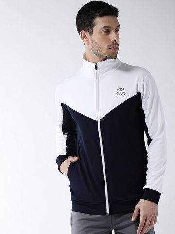 Masch Sports | Masch Sports Mens Regular fit White and Navy Blue Solid Polyester Sports Active Wear Jackets