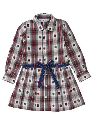 Popsicles Clothing | Popsicles Garnet Plaid Dress Regular Fit Dress For Girl