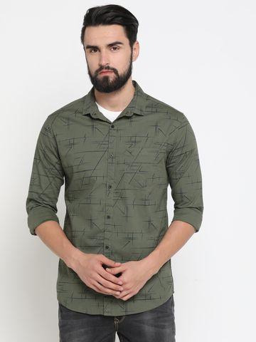 Showoff | Green Showoff Mens Cotton Printed  Slim Casual Shirts