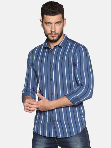 Showoff   SHOWOFF Men's Cotton Casual Blue Stripe Slim Fit Shirt