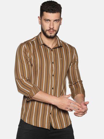 Showoff | SHOWOFF Men's Cotton Casual Brown Stripe Slim Fit Shirt