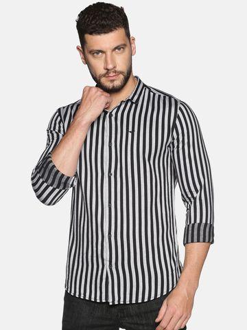 Showoff | SHOWOFF Men's Cotton Casual Black Stripe Slim Fit Shirt