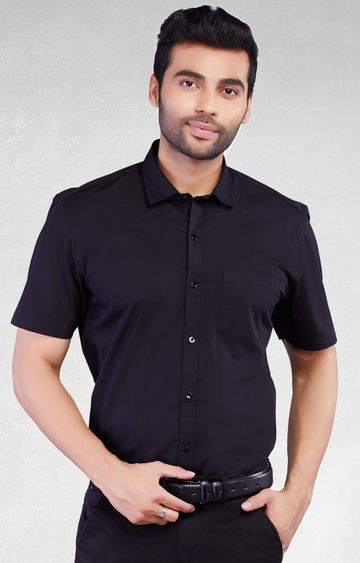 5th Anfold | Fifth Anfold Formal Half Sleev/Short Sleev Black Pure Cotton Plain Solid Formal Men Shirt(Size: 3XL)