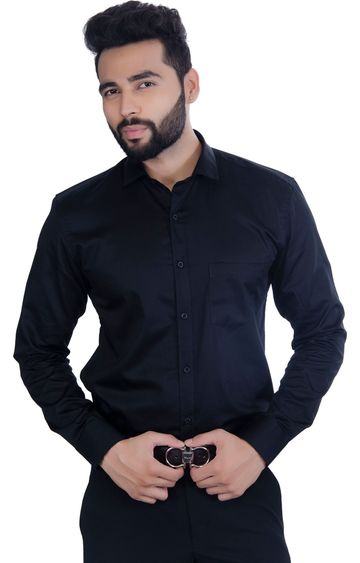 5th Anfold | FIFTH ANFOLD Solid Pure Cotton Formal Full Long Sleev Black Spread Collar Mens Shirt(Size:3XL)
